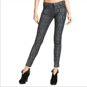 Current Elliott antique lace ankle skinny jeans